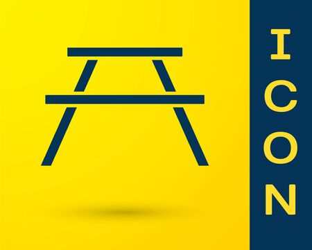 Blue Picnic table with benches on either side of the table icon isolated on yellow background. Vector 일러스트