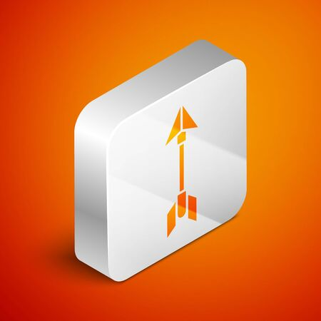 Isometric Hipster arrow icon isolated on orange background. Silver square button. Vector Illustration Ilustracja