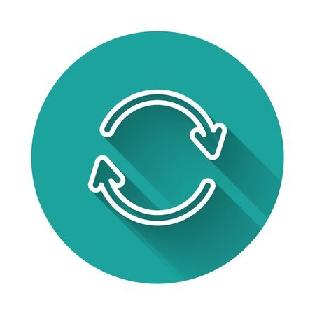White line Refresh icon isolated with long shadow. Reload symbol. Rotation arrows in a circle sign. Green circle button. Vector