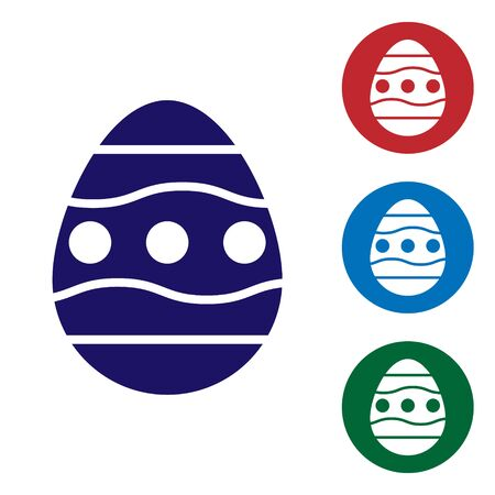 Blue Easter egg icon isolated on white background. Happy Easter. Set icons in color square buttons. Vector Vectores