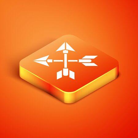 Isometric Crossed arrows icon isolated on orange background. Vector Illustration Ilustracja