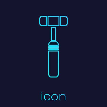Turquoise line Neurology reflex hammer icon isolated on blue background. Vector Illustration
