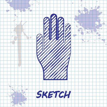 Sketch line Medical rubber gloves icon isolated on white background. Protective rubber gloves. Vector Illustration