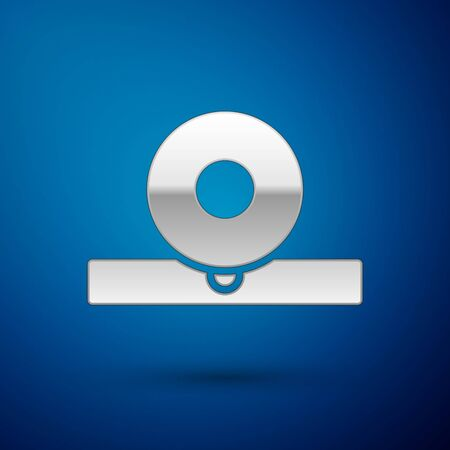 Silver Otolaryngological head reflector icon isolated on blue background. Equipment for inspection the patient's ear, throat and nose. Vector Illustration