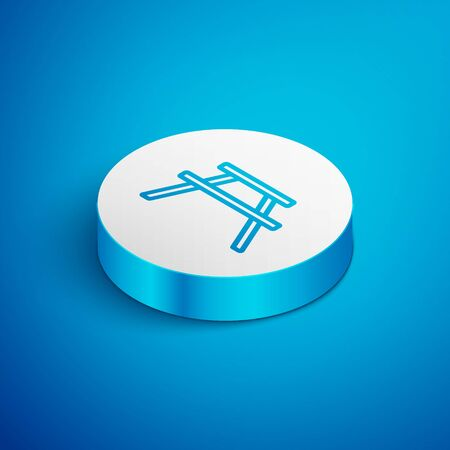 Isometric line Picnic table with benches on either side of the table icon isolated on blue background. White circle button. Vector Illustration