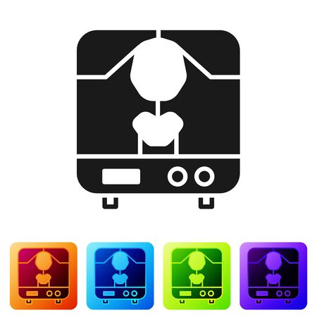Black X-ray machine icon isolated on white background. Set icons in color square buttons. Vector