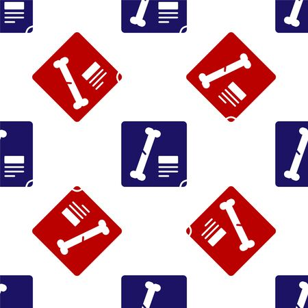 Blue and red X-ray shots icon isolated seamless pattern on white background. Vector
