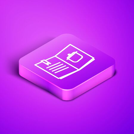 Isometric line Cookbook icon isolated on purple background. Cooking book icon. Recipe book. Fork and knife icons. Cutlery symbol. Purple square button. Vector