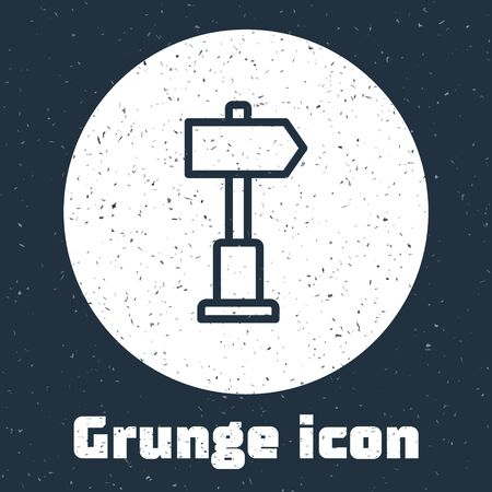 Grunge line Road traffic sign. Signpost icon isolated on grey background. Pointer symbol. Street information sign. Direction sign. Monochrome vintage drawing. Vector Ilustracja