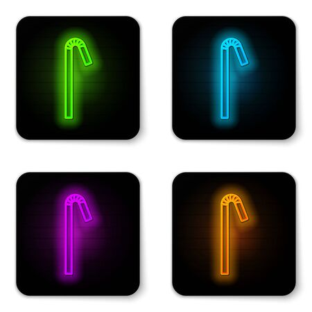Glowing neon line Drinking plastic straw icon isolated on white background. Black square button. Vector Ilustração