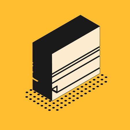 Isometric Rolling paper icon isolated on yellow background. Vector Illustration