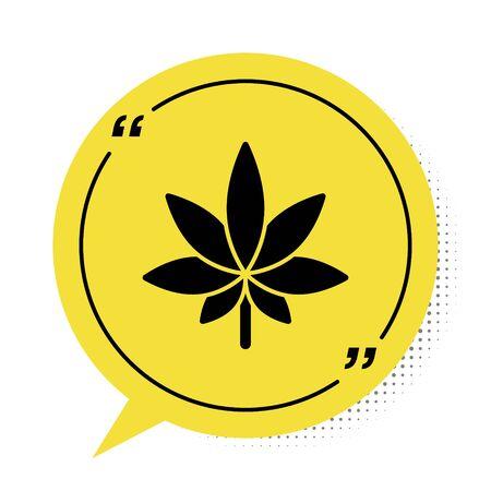 Black Medical marijuana or cannabis leaf icon isolated on white background. Hemp symbol. Yellow speech bubble symbol. Vector Illustration
