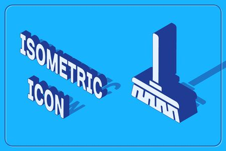 Isometric Handle broom icon isolated on blue background. Cleaning service concept. Vector