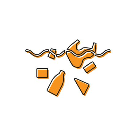 Orange The problem of pollution of the ocean icon isolated on white background. The garbage, plastic, bags on the sea. Vector Illustration