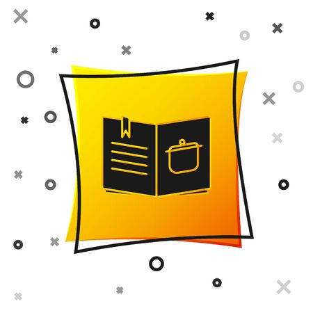 Black Cookbook icon isolated on white background. Cooking book icon. Recipe book. Fork and knife icons. Cutlery symbol. Yellow square button. Vector Illusztráció