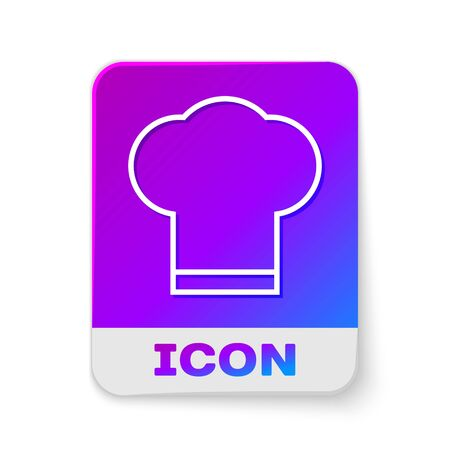 White line Chef hat icon isolated on white background. Cooking symbol. Cooks hat. Rectangle color button. Vector