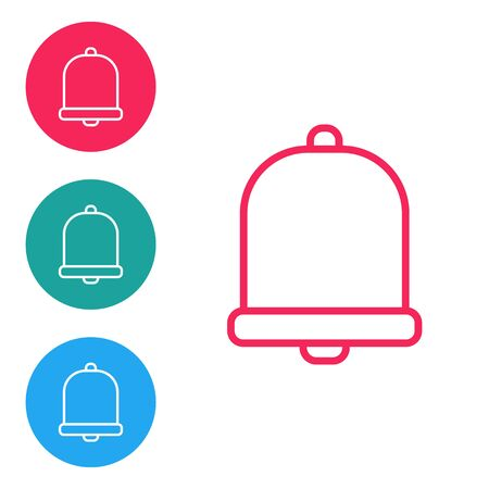 Red line Church bell icon isolated on white background. Alarm symbol, service bell, handbell sign, notification symbol. Set icons in circle buttons. Vector