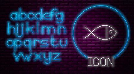 Glowing neon line Christian fish symbol icon isolated on brick wall background. Jesus fish symbol. Neon light alphabet. Vector