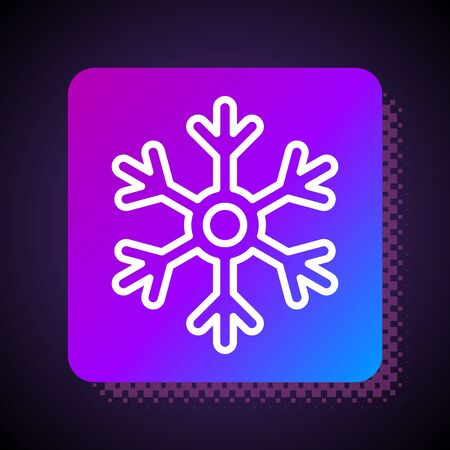 White line Snowflake icon isolated on black background. Square color button. Vector Illustration