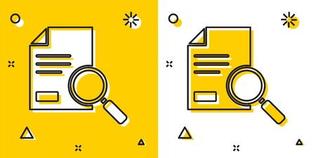 Black Document with search icon isolated on yellow and white background. File and magnifying glass icon. Analytics research sign. Random dynamic shapes. Vector Illustration Çizim