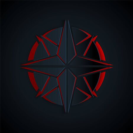 Paper cut Wind rose icon isolated on black background. Compass icon for travel. Navigation design. Paper art style. Vector Illustration