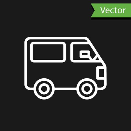 White line Delivery cargo truck vehicle icon isolated on black background. Vector Illustration