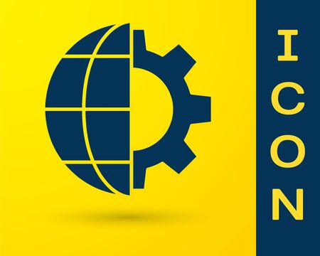 Blue Globe of the Earth and gear or cog icon isolated on yellow background. Setting parameters. Global Options. Vector Illustration Stock Illustratie