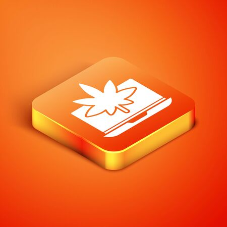 Isometric Laptop and medical marijuana or cannabis leaf icon isolated on orange background. Online buying symbol. Supermarket basket. Vector Illustration
