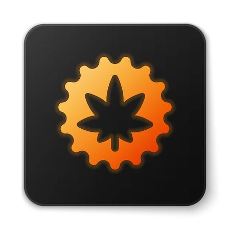 Orange glowing neon Medical marijuana or cannabis leaf icon isolated on white background. Hemp symbol. Black square button. Vector Illustration