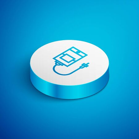 Isometric line IV bag icon isolated on blue background. Blood bag. Donate blood concept. The concept of treatment and therapy, chemotherapy. White circle button. Vector Illustration