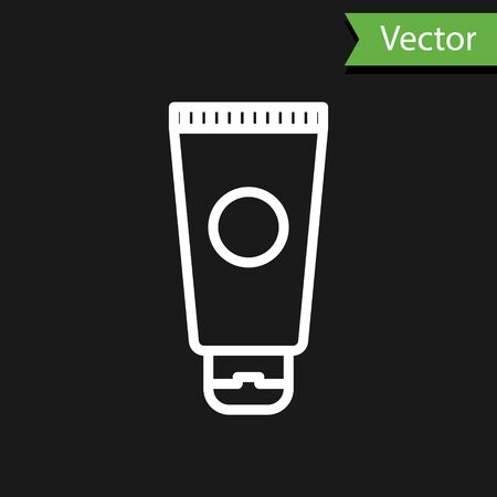 White line Cream or lotion cosmetic tube icon isolated on black background. Body care products for men. Vector Illustration