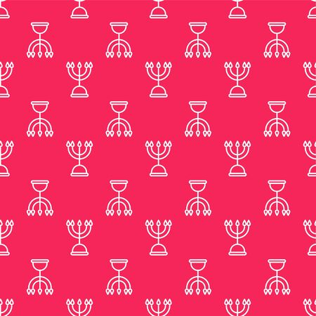 White line Hanukkah menorah icon isolated seamless pattern on red background. Hanukkah traditional symbol. Holiday religion, jewish festival of Lights. Vector Illustration Stock Illustratie