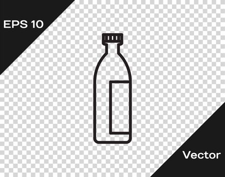 Black line Cream or lotion cosmetic tube icon isolated on transparent background. Body care products for men. Vector Illustration