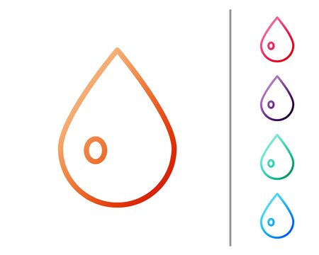 Red line Water drop icon isolated on white background. Set color icons. Vector Illustration