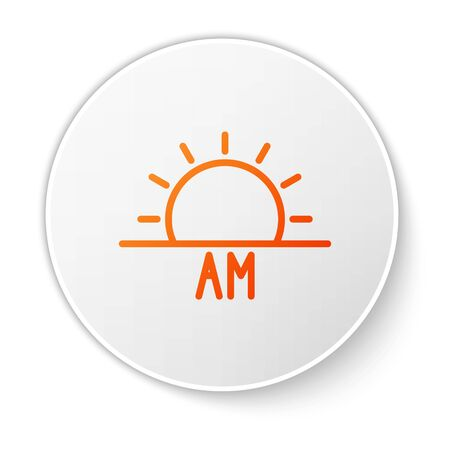 Orange line Sunrise icon isolated on white background. White circle button. Vector Illustration