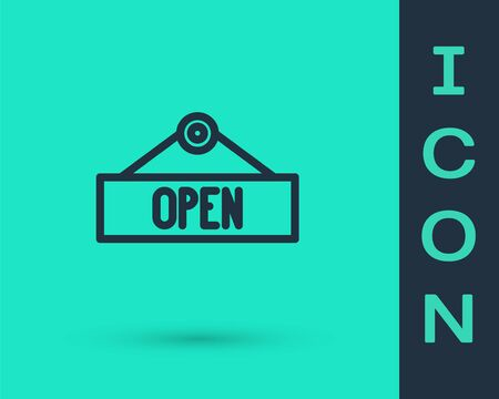 Black line Hanging sign with text Open door icon isolated on green background. Vector Illustration