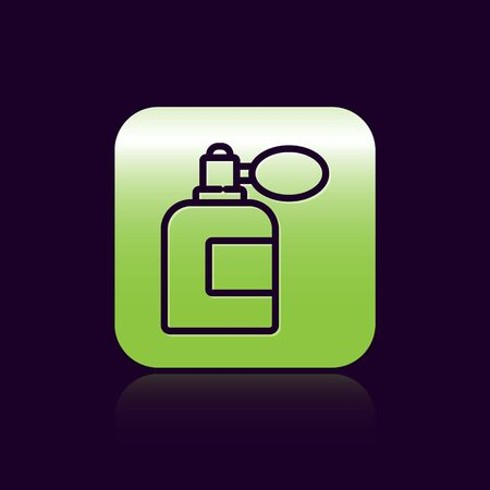 Black line Aftershave bottle with atomizer icon isolated on black background. Cologne spray icon. Male perfume bottle. Green square button. Vector Illustration