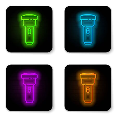 Glowing neon line Flashlight icon isolated on white background. Black square button. Vector Illustration Stock Illustratie