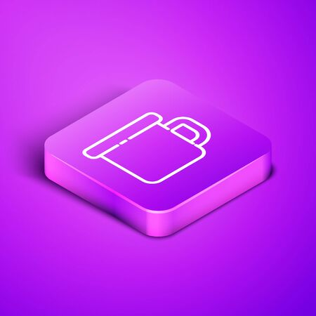 Isometric line Camping metal mug icon isolated on purple background. Purple square button. Vector Illustration Stock Illustratie