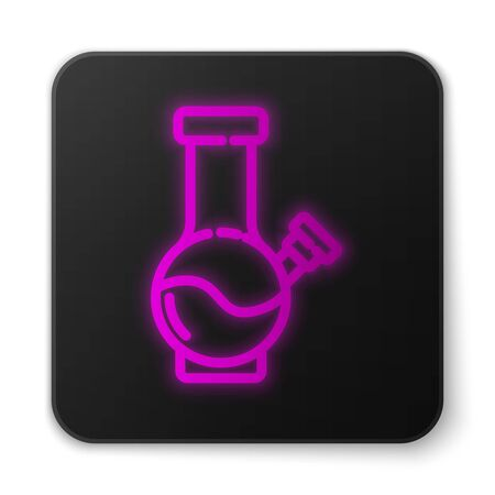 Glowing neon line Glass bong for smoking marijuana or cannabis icon isolated on white background. Black square button. Vector Illustration