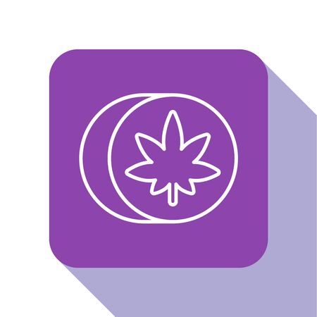 White line Herbal ecstasy tablets icon isolated on white background. Purple square button. Vector Illustration Stock Illustratie