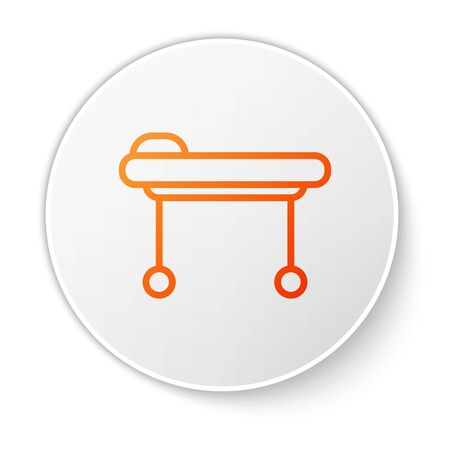 Orange line Stretcher icon isolated on white background. Patient hospital medical stretcher. White circle button. Vector Illustration Stock Illustratie