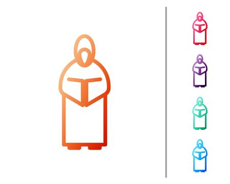 Red line Monk icon isolated on white background. Set color icons. Vector Illustration