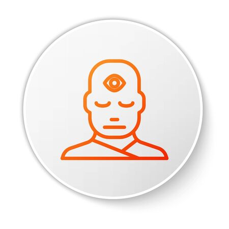 Orange line Man with third eye icon isolated on white background. The concept of meditation, vision of energy, aura. White circle button. Vector Illustration