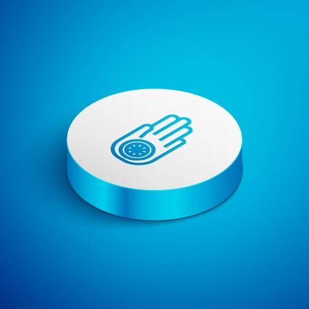 Isometric line Symbol of Jainism or Jain Dharma icon isolated on blue background. Religious sign. Symbol of Ahimsa. White circle button. Vector Illustration