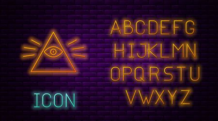 Glowing neon line Masons symbol All-seeing eye of God icon isolated on brick wall background. The eye of Providence in the triangle. Neon light alphabet. Vector Illustration Stock Illustratie