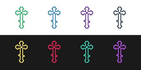 Set line Christian cross icon isolated on black and white background. Church cross. Vector Illustration