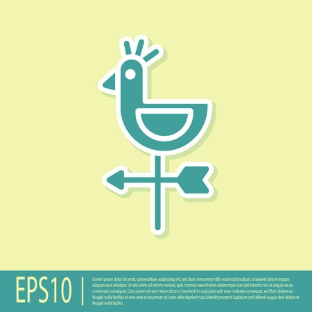 Green Rooster weather vane icon isolated on yellow background. Weathercock sign. Windvane rooster. Vector