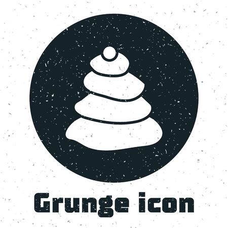Grunge Stack hot stones icon isolated on white background. Spa salon accessory. Monochrome vintage drawing. Vector Illustration