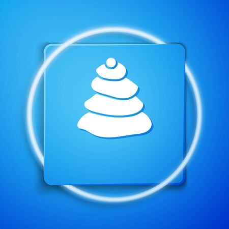 White Stack hot stones icon isolated on blue background. Spa salon accessory. Blue square button. Vector